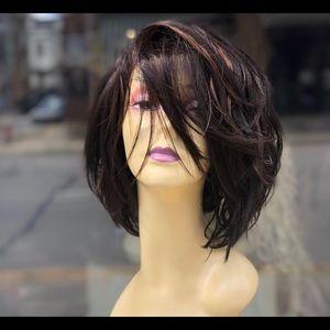 Brown highlights asymmetrical bob lace wig 2020